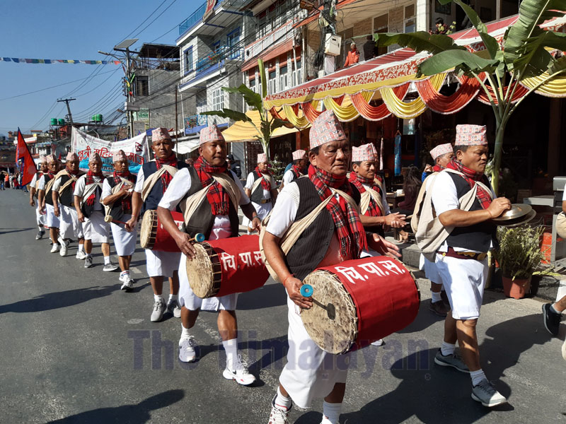 A group seen marching with a band during Pokhara street festival on December 28, 2019 in Pokhara, Nepal. Photo: Rup Narayan Dhakal / THT