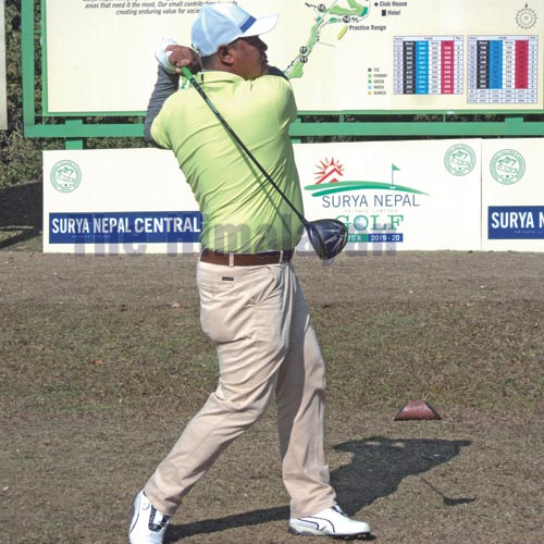 Shivaram Shrestha plays a shot during the third round of the Surya Nepal Central Open in Kathmandu on Wednesday, December 25, 2019. Photo: THT