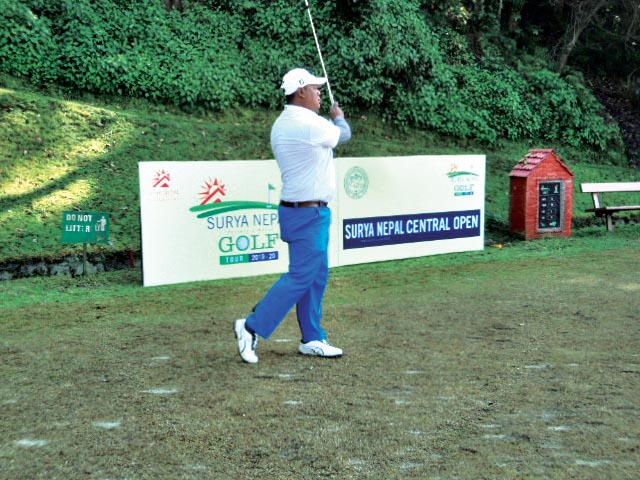 Shivaram Shrestha plays a tee shot on the 10th hole during the second round of the Surya Nepal Central Open in Kathmandu on Tuesday, December 24, 2019. Photo Courtesy: NPGA