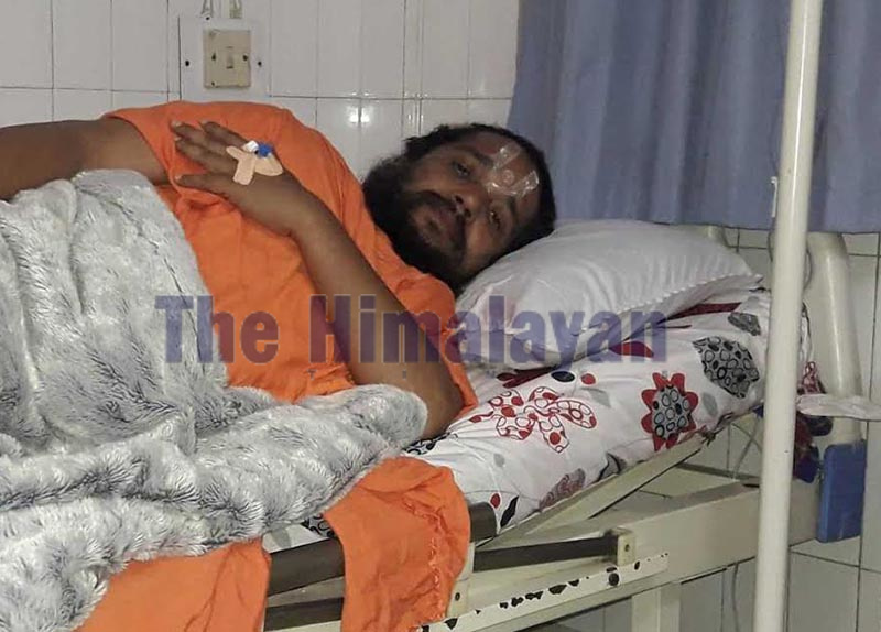 Rape-accused Krishnadas Giri, a spiritual guru popularly known as Siddhababa, receiving treatment in Birat Nursing Home in Biratnagar, Morang, on Sunday. Photo: THT