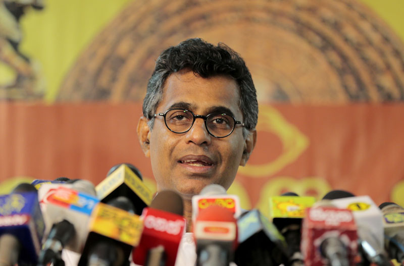Sri Lankan Technology and Research Minister Champika Ranawaka addresses a press conference, in Colombo, Sri Lanka, Nov 18, 2014. Photo: AP/File