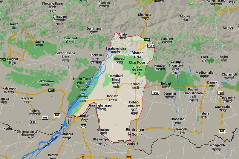 This image shows the Sunsari district in Nepal. Image: Google Maps