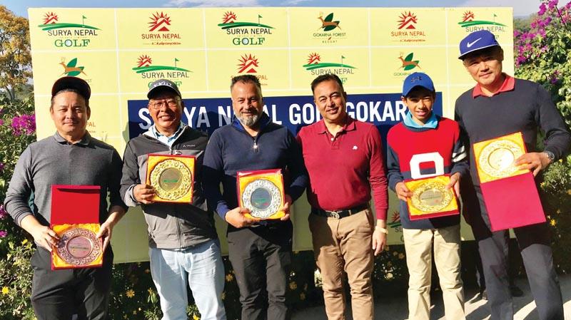 (From left) Jigmay Dongstetsang, Babu Sherpa, Devendra Bajgai, Pavitra Kumar Karki, Sadbhav Acharya and Wangchen Dhondup pose for a group photo after the Surya Nepal Gokarna Monthly Medal at the Gokarna Golf Club in Kathmandu on Saturday, December 21, 2019. Photo Courtesy: Gokarna Golf Club