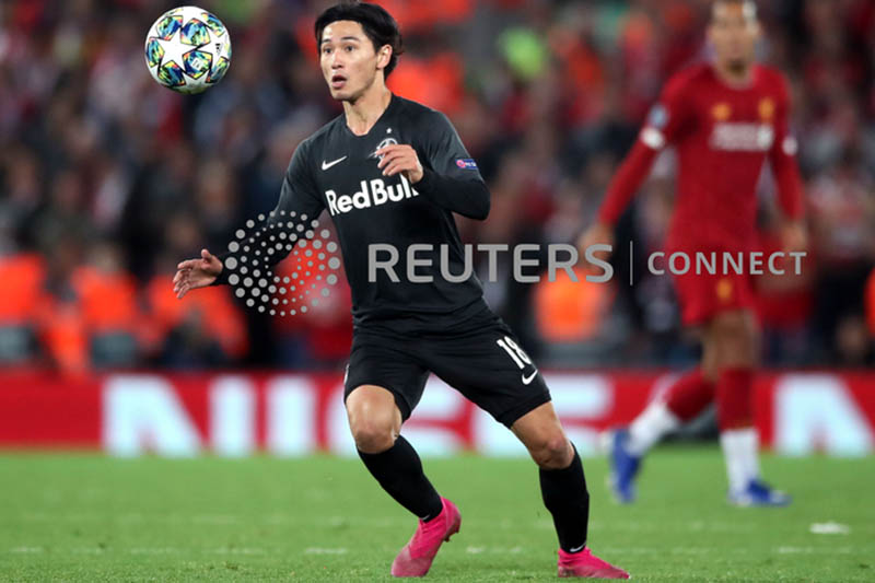FILE: Red Bull Salzburg's Takumi Minamino during the UEFA Champions League. Photo: Reuters