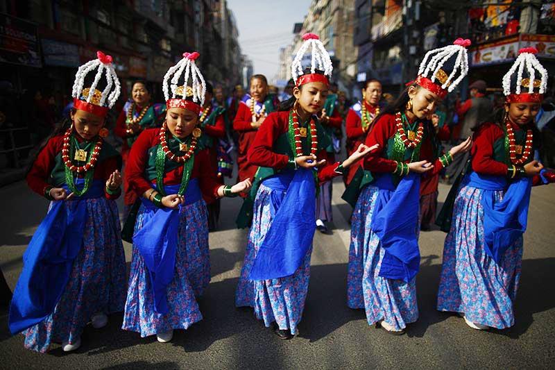 Girls from the Gurung community, dressed in traditional attire, perform dance while celebrating Tamu Lhosar festival, in Kathmandu, on Tuesday, December 31, 2019. Photo: Skanda Gautam/THT