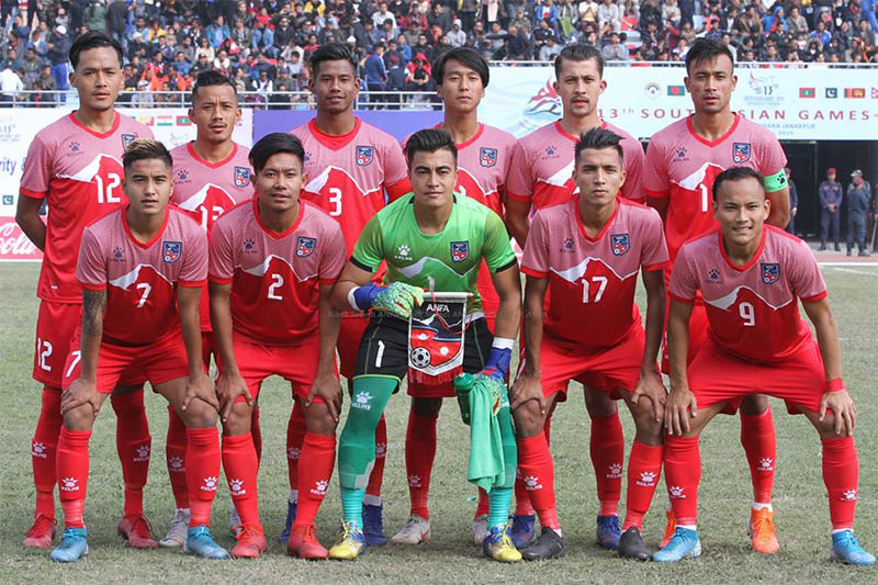 Nepal players pose for a portrait prior to their game against Sri Lanka during 13th South Asian Games in Kathmandu, on Wednesday, December 04, 2019. Courtesy: ANFA/Facebook