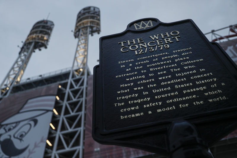 A memorial plaque for eleven concertgoers killed at a 1979 concert stands between Great American Ballpark and Heritage Bank Arena,  in Cincinnati, Wednesday, Nov 20, 2019. Photo: AP