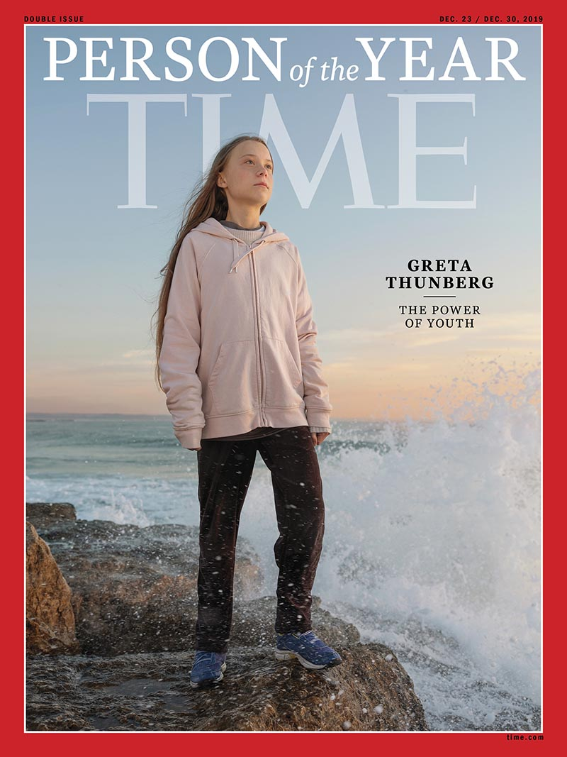 This photo provided by Time magazine shows Greta Thunberg, who has been named Timeu2019s youngest u201cperson of the yearu201d on Wednesday, Dec. 11, 2019.   The media franchise said Wednesday on its website that Thunberg is being honored for work that transcends backgrounds and borders. Photo: Time via AP