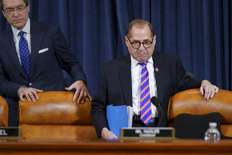 House Judiciary Committee Chairman Rep Jerrold Nadler, D-NY, joined at left by Democratic counsel Norm Eisen, arrives at a hearing on the constitutional grounds for the impeachment of President Donald Trump, on Capitol Hill, in Washington, on Wednesday, December 4, 2019. Photo: AP