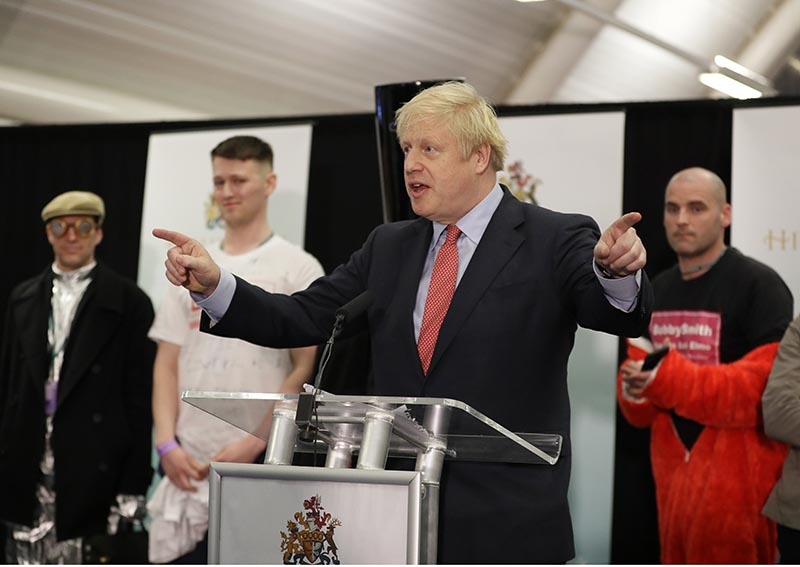 Britain's Prime Minister and Conservative Party leader Boris Johnson gestures as he speaks after the Uxbridge and South Ruislip constituency count declaration at Brunel University in Uxbridge, London, Friday, December 13, 2019. Photo: AP