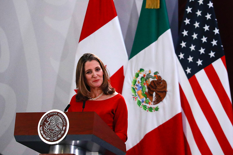 Canadian Deputy Prime Minister Chrystia Freeland speaks during a meeting at the Presidential Palace, in Mexico City, Mexico, on December 10, 2019. Photo: Reuters