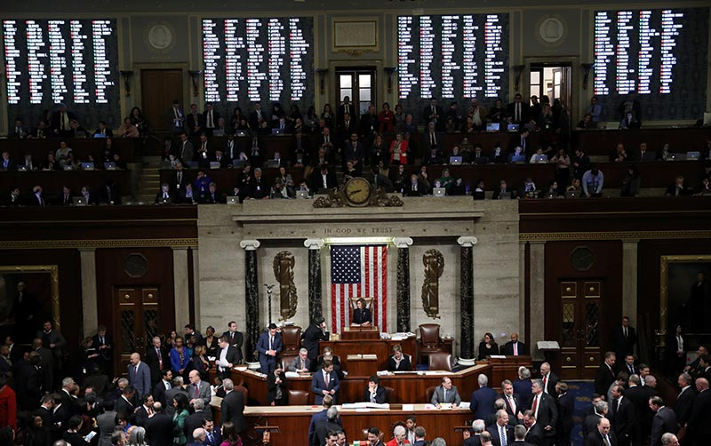 A tote board shows the votes of members of Congress as US Speaker of the House Nancy Pelosi (D-CA) presides over the final of two House of Representatives votes approving two counts of impeachment against US President Donald Trump in the House Chamber of the US Capitol in Washington, US, on December 18, 2019. Photo: Reuters