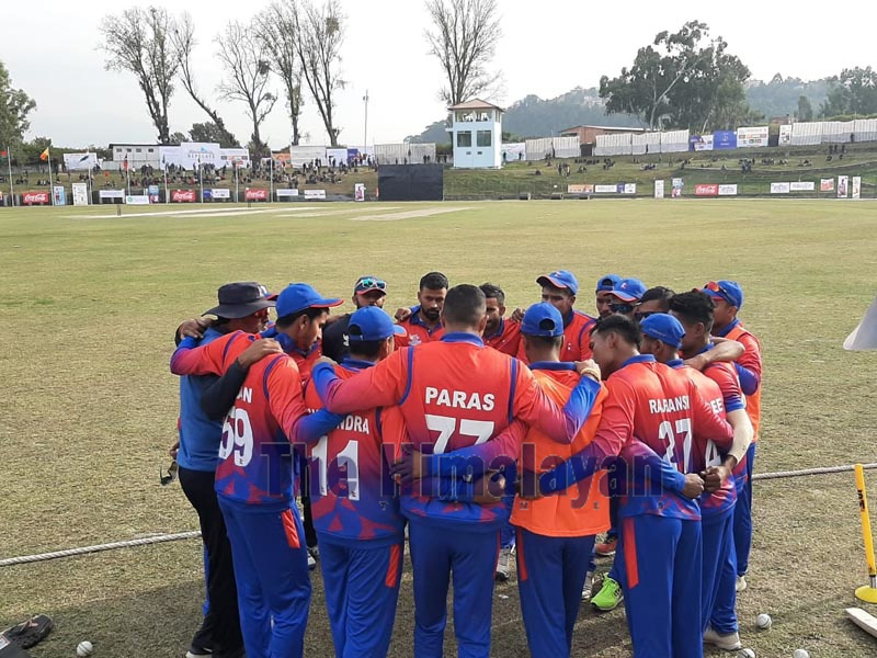 Nepali men's cricket team during the 13th South Asian Games (SAG) match between Nepal and the Maldives at Tribhuvan University Stadium in Kirtipur on Friday, December 5, 2019. Photo: Nishant Pokhrel/THT Online