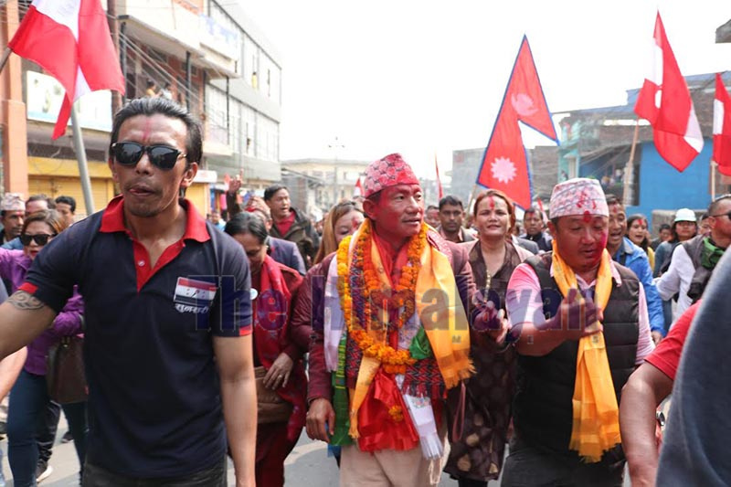Newly elected mayor of Dharan sub-metropolis Tilak Rai (centre) of Nepali Congress participating in a victory rally, in Dharan, Sunsari, on Monday. Photo: THT