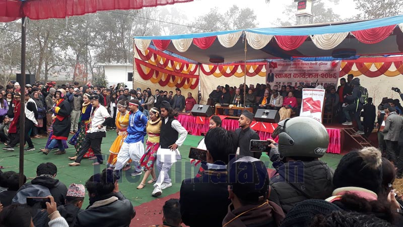 Senior NCP (NCP) leader Madhav Kumar Nepal observes a culture programme during a welcome ceremony organised by the All Nepal National Free Students Union (ANNFSU) at Prithvi Narayan Campus, in Pokhara, on Thursday, December 26, 2019. Photo: Rishi Baral/THT