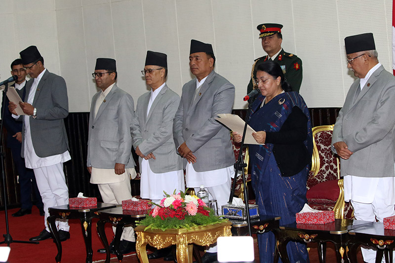 President Bidya Devi Bhandari administering the oath of office and secrecy to the newly elected Speaker of the House of Representatives (HoR) Agni Prasad Sapkota, during a programme at the President's Office, in Shital Niwas, Kathmandu, on Monday, January 27, 2020. Photo: RSS