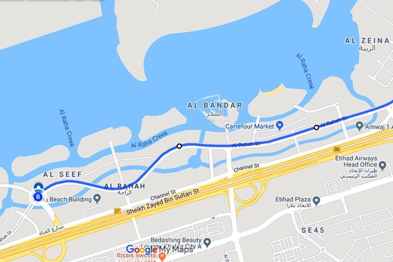 This image shows the map of Al Raha Street in Abu Dhabi, the United Arab Emirates (UAE). Image: Google Maps