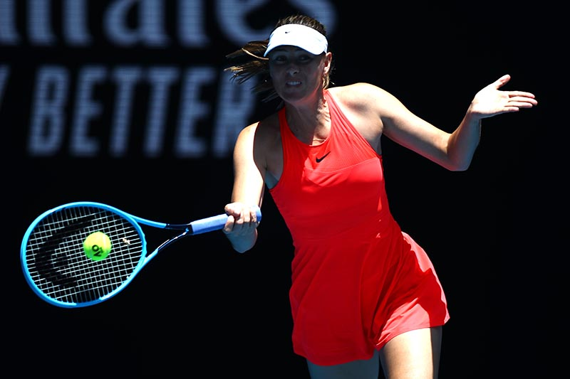Russia's Maria Sharapova in action during the match against Croatia's Donna Vekic during the Australian Open First Round match at Melbourne Park, in Melbourne, Australia, on January 21, 2020. Photo: Reuters