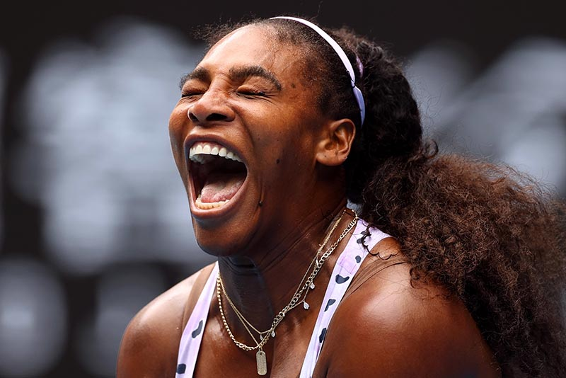Serena Williams of the US reacts during the match against China's Qiang Wang during the Australian Open Third Round match at Melbourne Park, in Melbourne, Australia, on January 24, 2020. Photo: Reuters