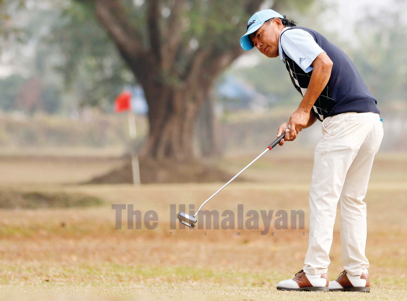Bal Bhadra Rai making the putt on the 17th green during the second round of the Surya Nepal Eastern Open in Dharan on Wednesday. Photo: THT