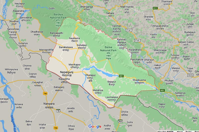 This image shows the maps of Banke district, in Province 5 of Mid-western Nepal. Image: Google Maps