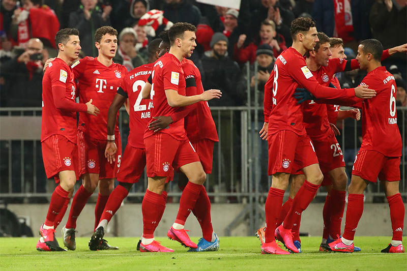 Bayern Munich's Robert Lewandowski celebrates scoring their first goal. Photo: Reuters