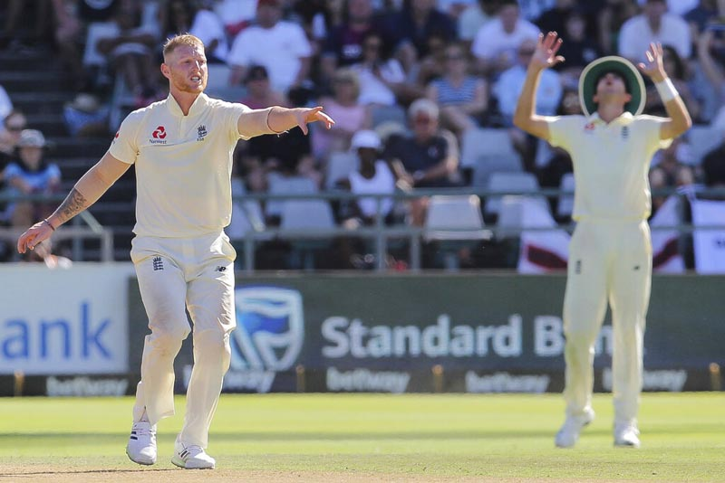 England bowler Ben stokes in action during day two of the second cricket test between South Africa and England at the Newlands Cricket Stadium in Cape Town, South Africa, Saturday January 4, 2020. Photo: AP