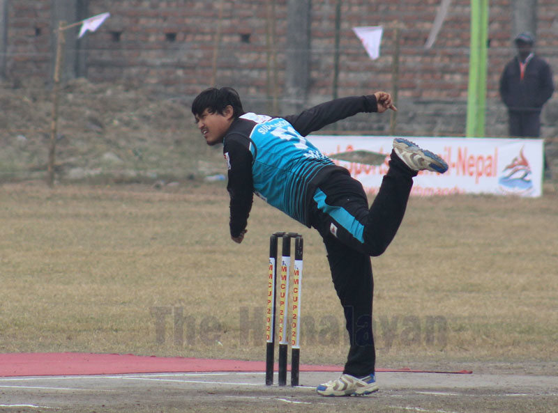 Binod Lama of Sudurpaschim Province bowls against Gandaki Province during their Manmohan Memorial National One-Day Cricket Tournament match in Sunsari on Sunday. Photo: THT