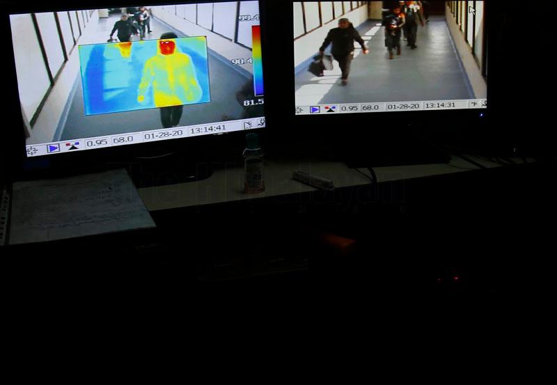 Screening of passengers arriving from China by thermal scanners, at Tribhuvan International Airport, in Kathmandu, on Tuesday, January 28, 2020. Photo: Skanda Gautam/THT