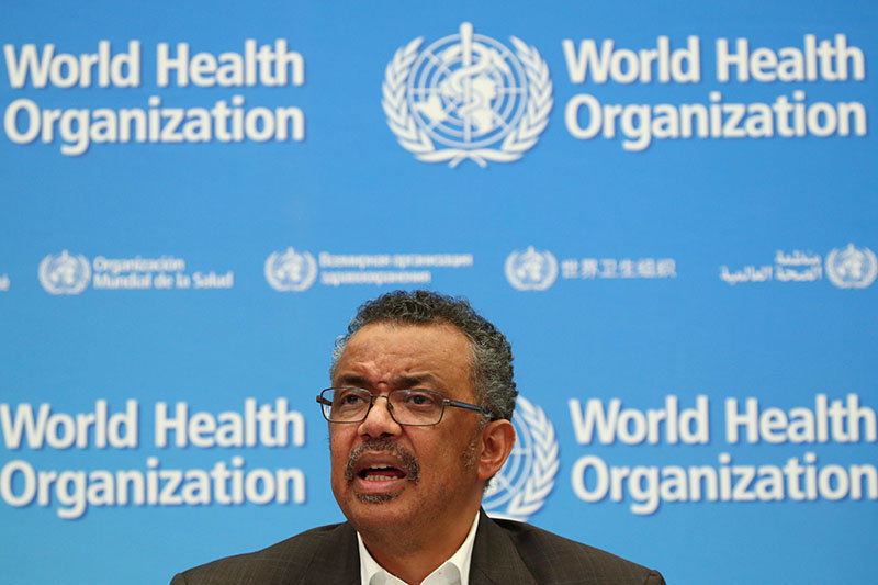 Director-General of the World Health Organization (WHO) Tedros Adhanom Ghebreyesus speaks during a news conference after a meeting of the Emergency Committee on the novel coronavirus (2019-nCoV) in Geneva, Switzerland January 30, 2020. Photo: Reuters