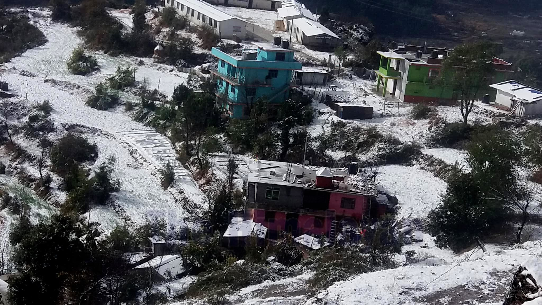 A human settlement area covered in snow, in Baghkhor, the district headquarters of Dadeldhura, on Friday, January 03, 2020. Photo: Baburam Shrestha/THT