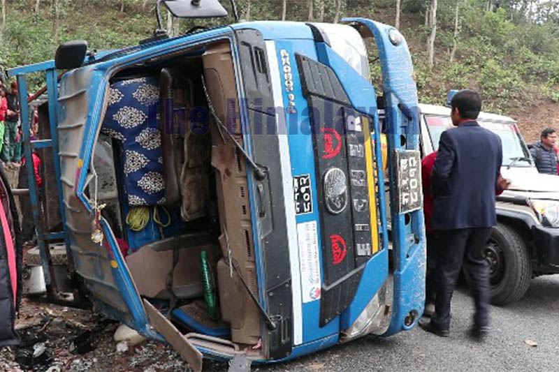 Wreckage of the mini-truck after accident in Nilkantha Municipality, Dhading, on Tuesday, January 21, 2020. Photo: Keshav Adhikari/THT