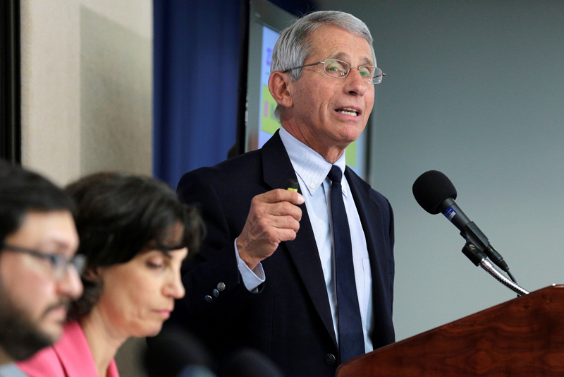 Dr Anthony Fauci, director of the National Institute of Allergy and Infectious Diseases at the National Institutes of Health speaks to the media about the Zika virus in Washington, US, August 11, 2016. Photo: Reuters/File