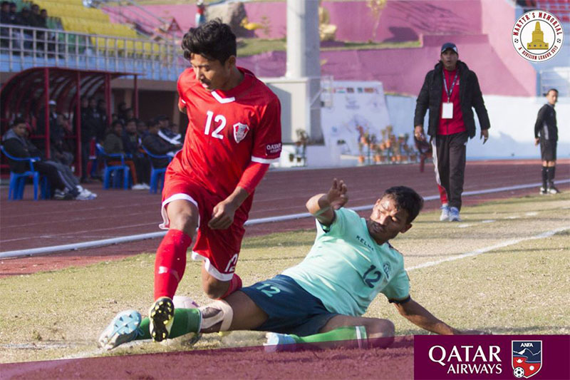 Players in action during Martyr's Memorial A Division Football League at Dashrath Stadium, in Kathmandu, on Sunday, January 12, 2020. Courtesy: ANFA/Facebook
