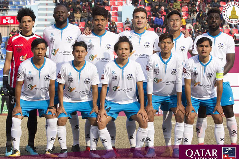 Himalayan Sherpa Club (HSC) players pose for a portrait prior to their game at Dasarath Stadium in Kathmandu. Courtesy: ANFA/Facebook