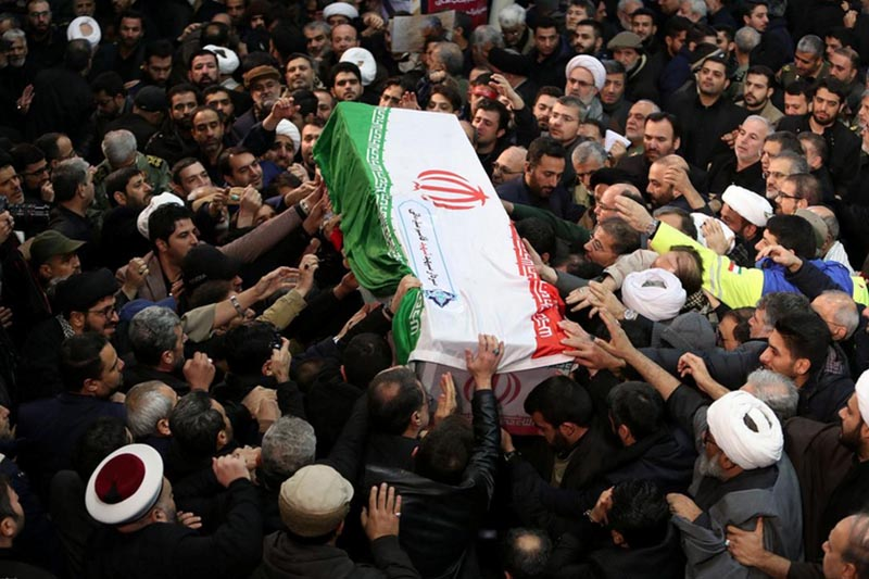 Iranian mourners react upon the arrival of bodies of the Iranian Major-General Qassem Soleimani, at Ahvaz international airport, in Ahvaz, Iran January 5, 2020. Iranian Major-General  Soleimani, head of the elite Quds Force, and the Iraqi militia commander Abu Mahdi al-Muhandis, who were killed in an air strike at Baghdad airportPhoto: Reuters