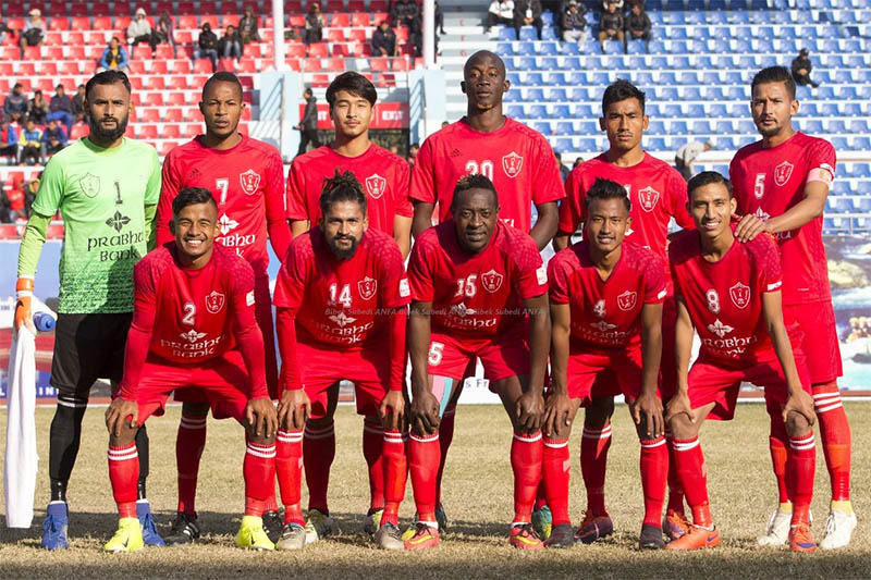 Jawalakhel Youth Club players pose for a portrait prior to their game at the Dashrath Stadium in Kathmandu. Courtesy: ANFA/Facebook