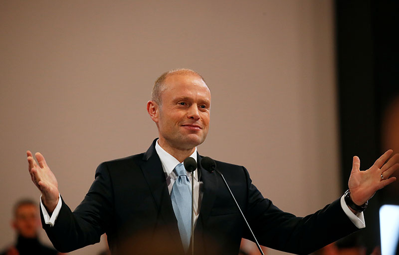 Outgoing Prime Minister and Labour Party leader Joseph Muscat finishes his final speech at the party's Congress before the election of a new party leader at the Corradino Sports Pavilion in Paola, Malta January 10, 2020. Photo: Reuters