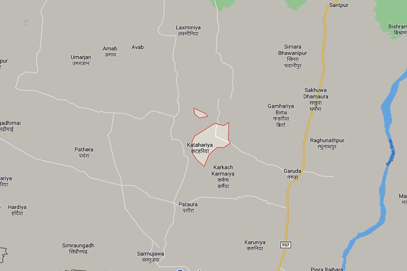 This image shows Katahariya Municipality in Rautahat district. Image: Google Maps