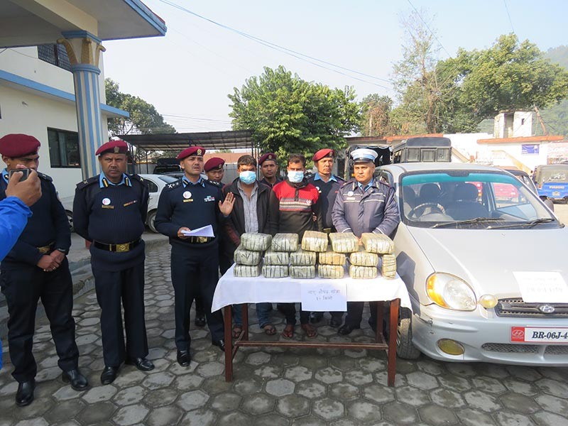 Persons arrested on the charge of smuggling marijuana being made public at District Police Office, Makawanpur, on Wednesday, January 29, 2020. Photo Courtesy: Nepal Policeu00a0