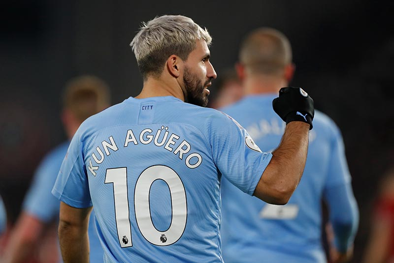 Manchester City's Sergio Aguero after the match during the Premier League match between Sheffield United and Manchester City, at Bramall Lane, in Sheffield, Britain, on January 21, 2020. Photo: Action Images via Reuters