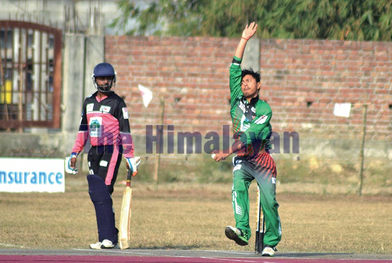 TACu2019s Sushan Bhari bowls against MMCC Inaruwa during their Manmohan Memorial National One-Day Cricket Tournament match in Sunsari on Tuesday. Photo: THT