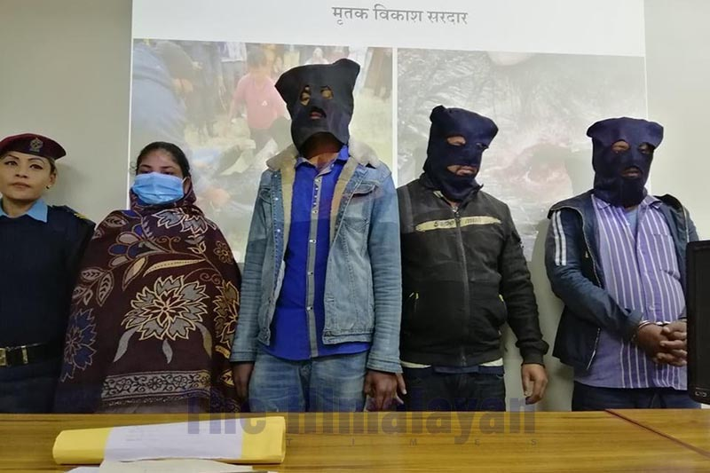 Police making public the accused arrested for murdering her husband in collusion with the lover and his friends, in District Police Office, Morang, on Tuesday, January 28, 2020. Photo: THT