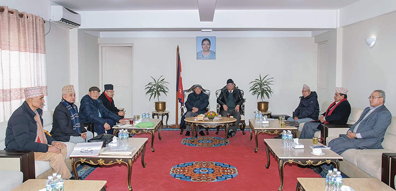 Prime Minister and Co-chair of Nepal Communist Party (NCP) KP Sharma Oli, Co-chair Pushpa Kamal Dahal, along with other party other leaders at the party's   secretariat meeting held at PMu2019s residence, in Baluwatar, Kathmandu, on Friday, January 3, 2019. Photo: RSS
