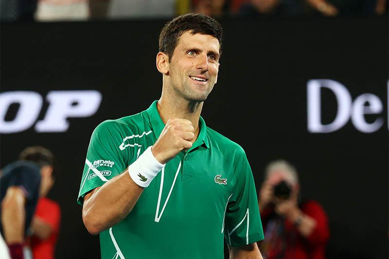 Serbia's Novak Djokovic celebrates after his match against Switzerland's Roger Federer. Photo: Reuters