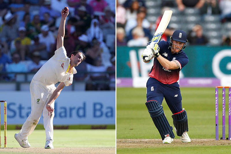 FILE: Australian pace bowler Pat Cummins (left) and England all rounder Ben Stokes. Photo: Reuters