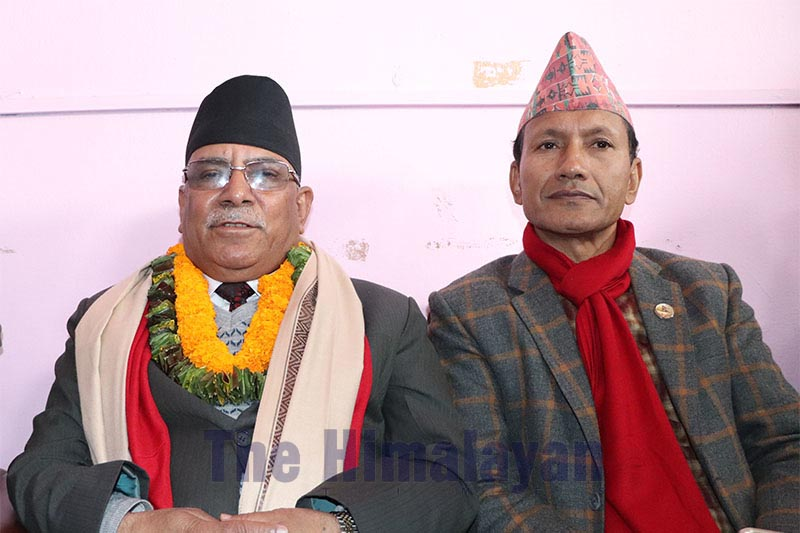 Nepal Communist Party (NCP) Co-chair Pushpa Kamal Dahal talking to journalists at Bharatpur Airport, in Chitwan district, on Friday, January 24, 2020. Photo: THT