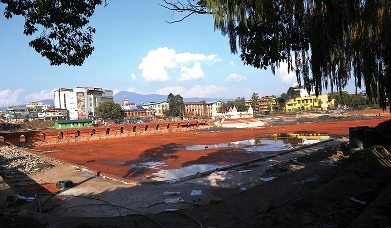 A view of the under-construction Rani Pokhari after the sky cleared on Saturday following continuous drizzle in the past two days. Photo: RSS