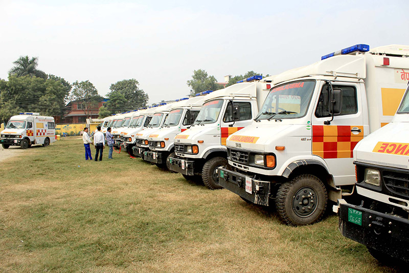 Ambulances procured by the Ministry of Social Development of Sudurpaschim Province for distribution in nine districts are seen in this undated picture. Photo Courtesy: Sudurpaschim Ministry of Social Development