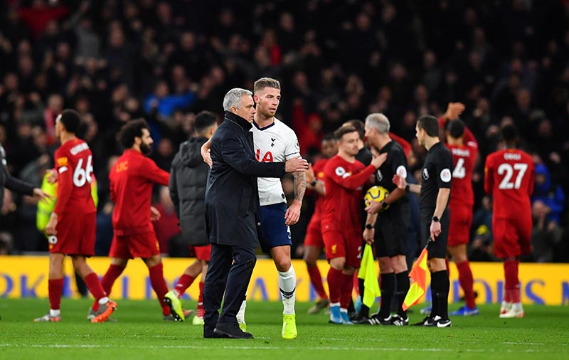 Tottenham Hotspur manager Jose Mourinho with Toby Alderweireld after the Premier League match betweeen Tottenham Hotspur and Liverpool, at Tottenham Hotspur Stadium, in London, Britain, on January 11, 2020. Photo. Reuters